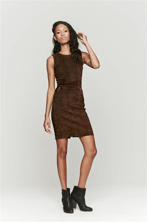 Brown Dress lyst l agence stretch suede dress in brown