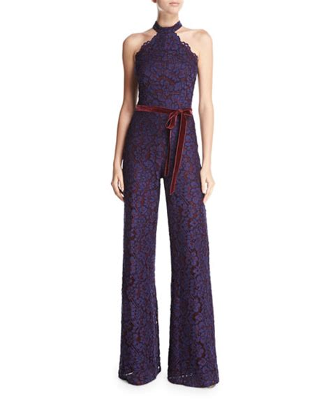Yzz St Ribbon Jumpsuit M rene halter neck wide leg lace jumpsuit navy