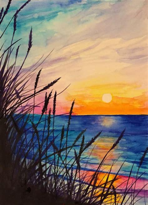 tutorial lake tableau ocean watercolor painting by rjenningsstudio on etsy