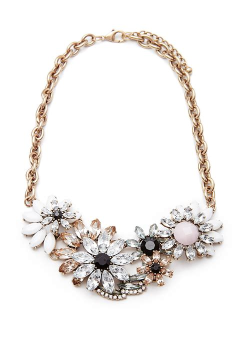 Statement Necklace lyst forever 21 faux gem floral statement necklace in