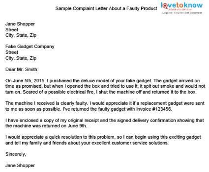 Complaint Letter Of Defective Product Sle Complaint Letter