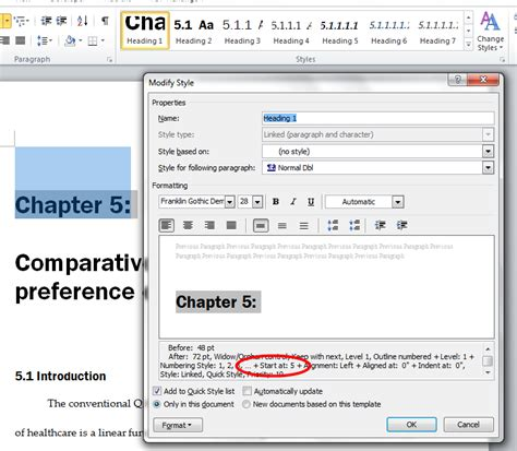word insert section number chapters reset numbering in word 2010 heading style