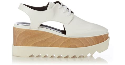 stella mccartney elyse lace up platform loafers in white