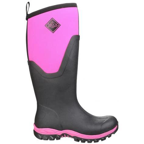 arctic sport pull on wellington boot black pink