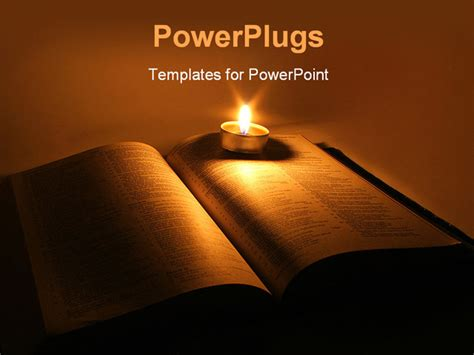 Powerpoint Template A Book With A Candle And Its Light In The Background 3387 Bible Powerpoint Template
