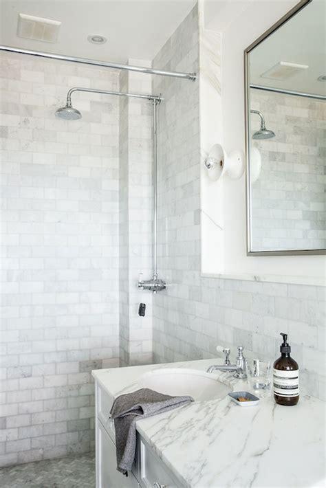 marble and subway tile bathroom subway tile shower contemporary bathroom kishani perera