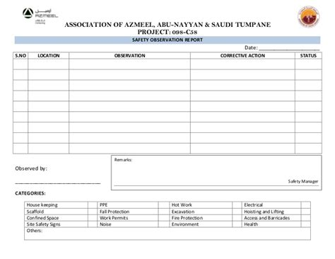 safety observation card template observation check list by safety officer
