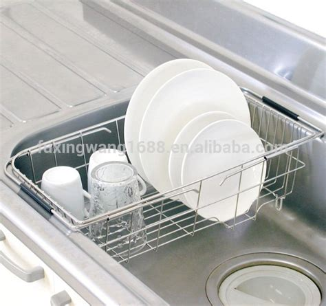 kitchen basket adjustable sink dish drainer in