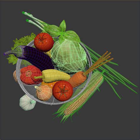 vegetables 3d max vegetables in the basket 3d model max obj 3ds fbx mtl mat