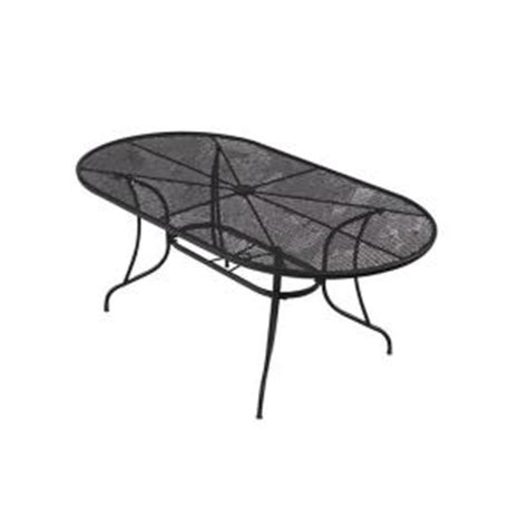 Black Wrought Iron Patio Table 72 In Wrought Iron Black Oval Patio Dining Table W3929 3872 Bk The Home Depot