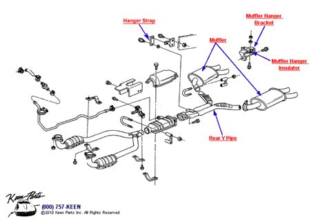 muffler system diagram 1987 corvette exhaust system parts parts accessories