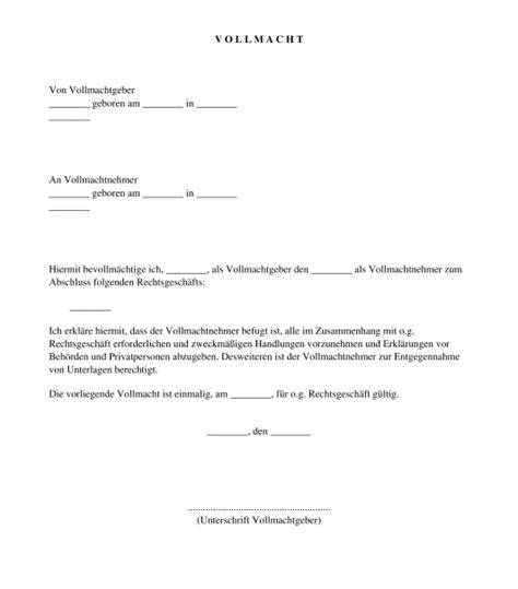 Auto Vollmacht by Vollmacht Muster Vorlage Online Word Und Pdf