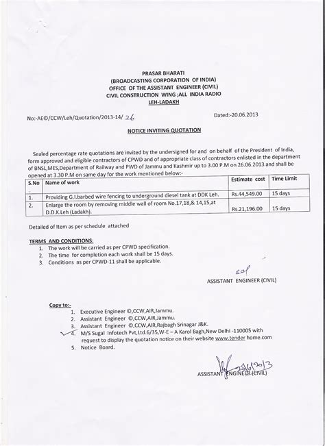 cover letter for civil work quotation office of the executive engineer civil civil construction