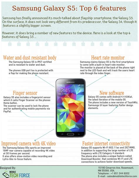 galaxy s5 best features samsung galaxy s5 top 6 features visual ly