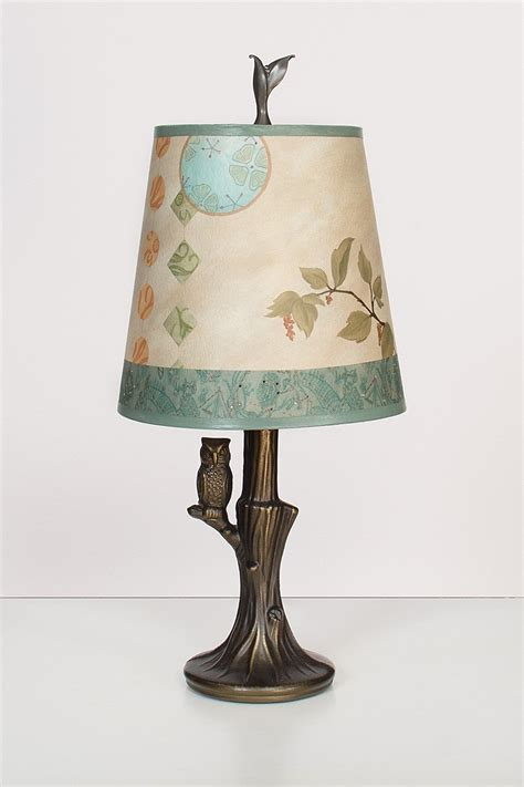bronze owl l with small drum shade in celestial leaf by