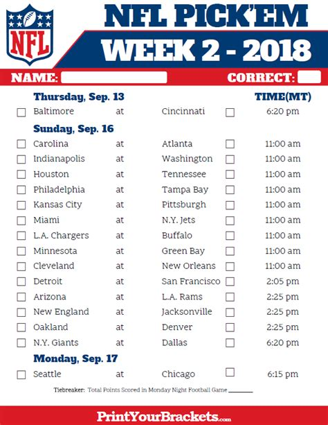 printable nfl schedule for week 2 mountain time week 2 nfl schedule 2018 printable