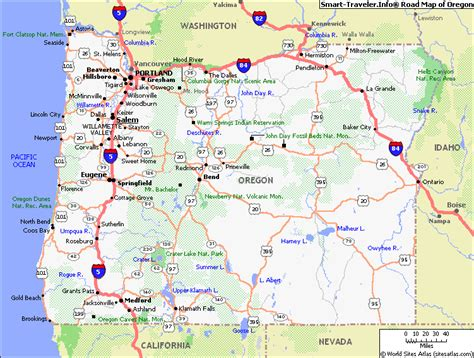 oregon road map map of oregon