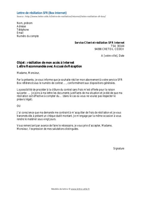 Resiliation Lettre Mobile Modele Lettre Resiliation Mobile Sfr Document