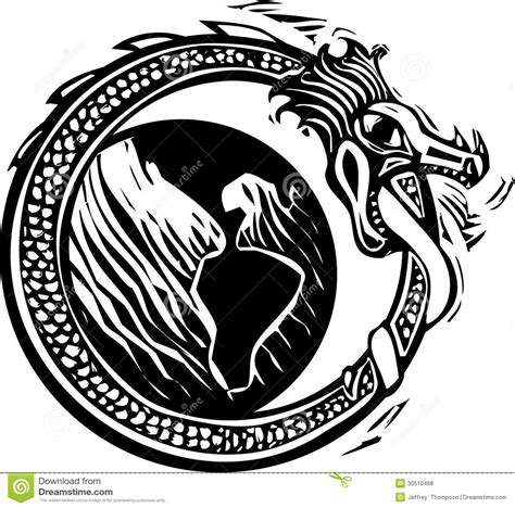midgard serpent and earth stock vector image of viking