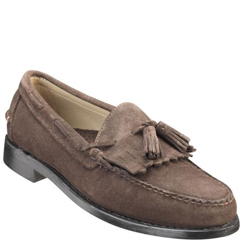 mens tassle loafers sebago mens cooper suede tassle loafers in brown for