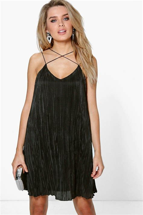 strap swing dress lucy cross strap pleated swing dress at boohoo com