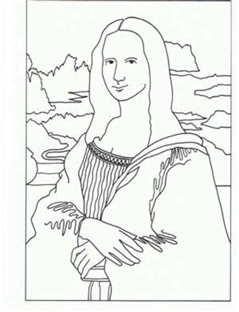 Mona Lisa Coloring Pages Da Vinci Printable Coloring