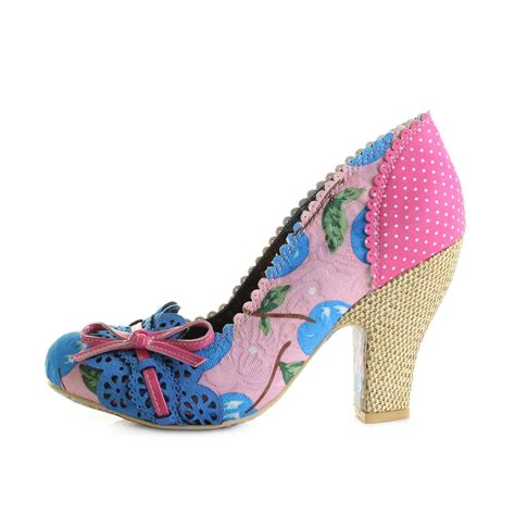 womens irregular choice make my day pink blue high heel
