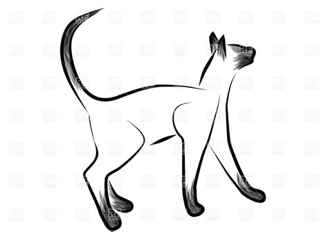 Sketched siamese cat Vector Image – Vector Artwork of ... Free Clipart Of Siamese Cats
