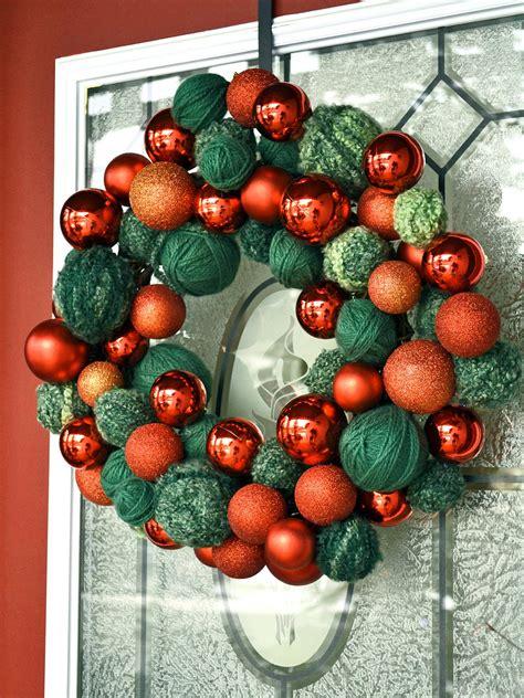 10 diy christmas wreaths hgtv easy yarn and ornament wreath hgtv