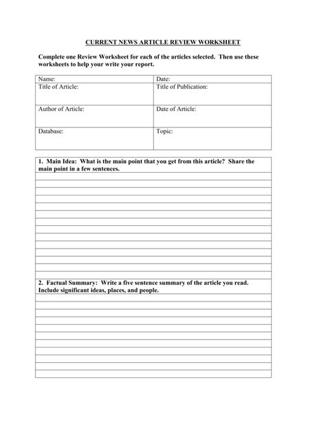 CURRENT NEWS ARTICLE REVIEW WORKSHEET Complete one