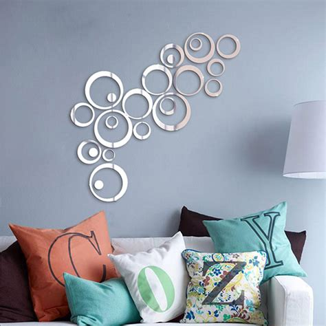 silver tone acrylic 3d mirror effect wall sticker circle