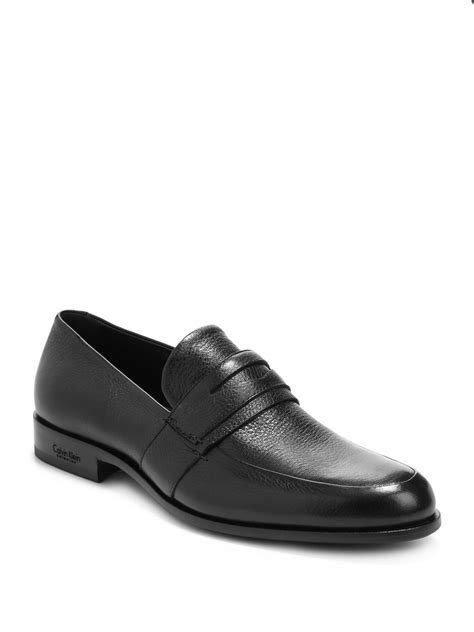 calvin klien loafers calvin klein leather loafers in black for lyst