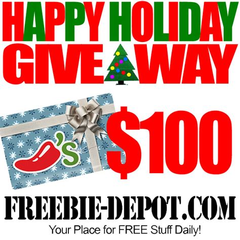 happy holiday giveaway free 100 chili s gift free prize win contest - Free Gift Giveaway