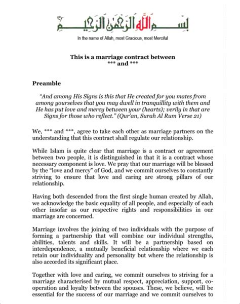 islamic marriage contract template 38 free marriage contract templates pdf format exles