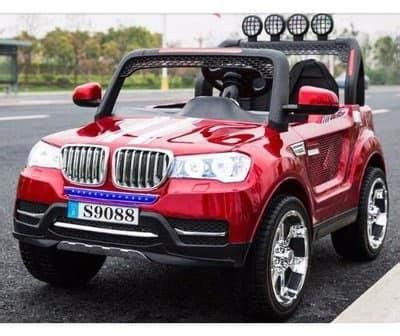 bmw jeep red rechargeable bmw jeep double seater driveable car red