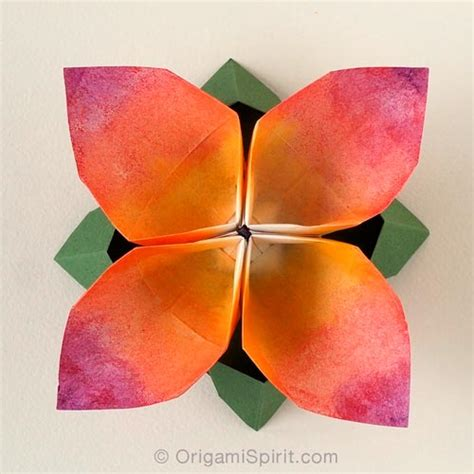 Origami 4 Petal Flower - origami flower for a guinness record attempt tutorial