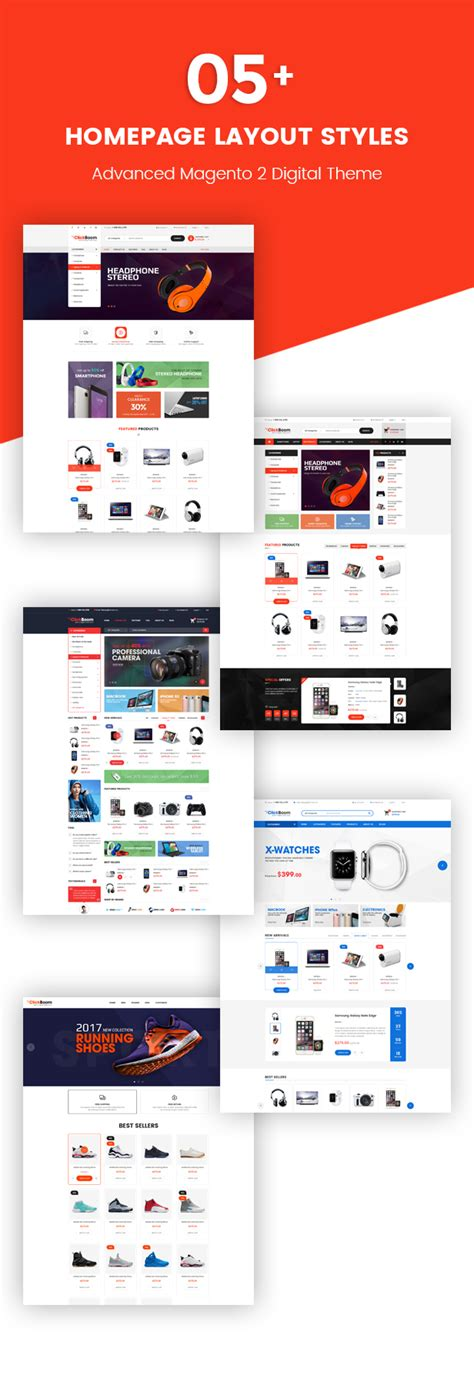 layout homepage magento clickboom responsive magento 2 theme for digital fashion