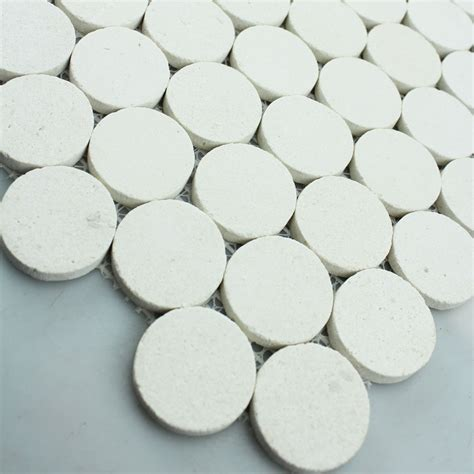 Stone Mosaic Tile Circle Pattern Washroom Wall Penny Round