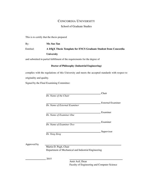 Phd Mba Signature by Thesis Template For Concordia Students By