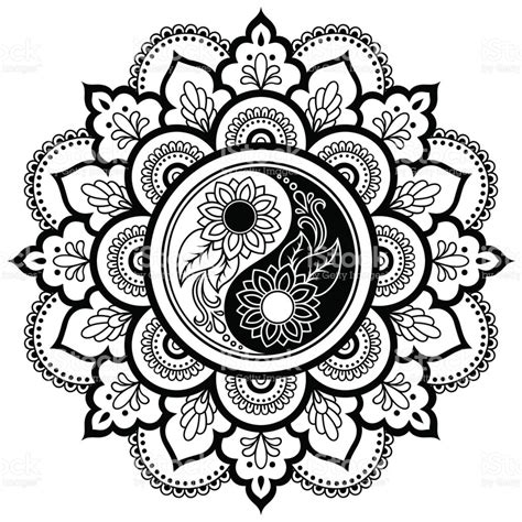 yin yang mandala coloring pages vector henna tatoo mandala yinyang decorative symbol