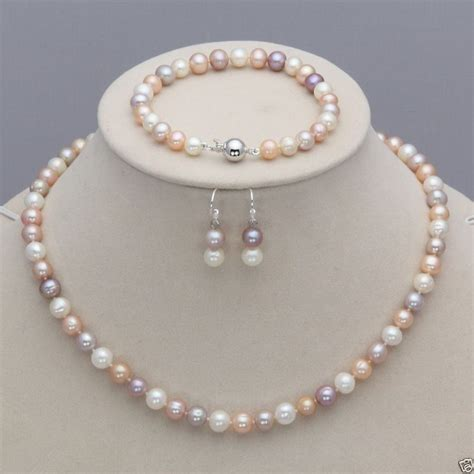 genuine 7 8mm white pink purple freshwater pearl necklace