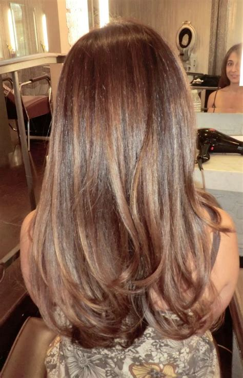 fine blonde highlights shiny brunette fine highlights color by neil george