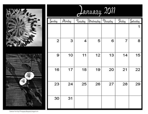 photography blography photoshop calendar template for