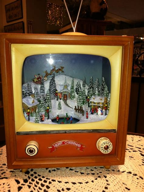 vintage tv christmas snow scene music box christmas