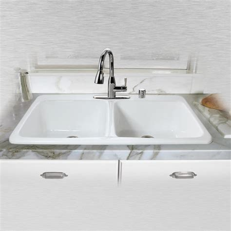 43 X 22 Kitchen Sink Ceco Big Corona 743 43 Quot X 22 Quot X 10 Quot Cast Iron Equal Bowl Self Kitchen Sink At