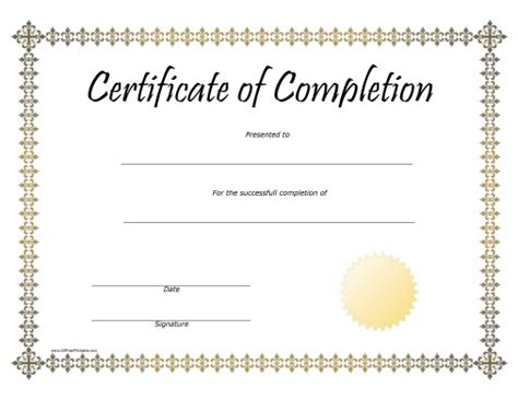 certificate of completion template free printable pin certificate of completion templates on