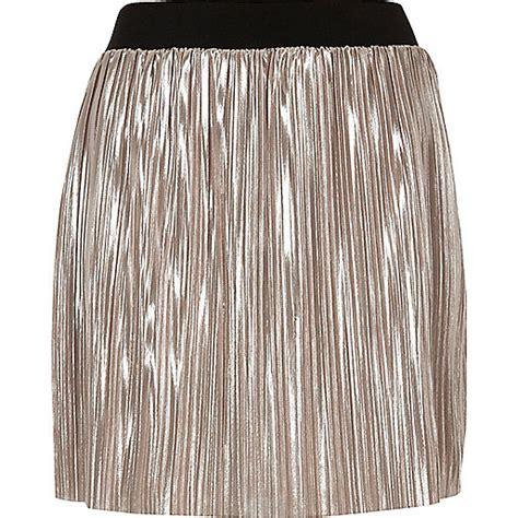 light pink pleated skirt metallic light pink pleated mini skirt mini skirts