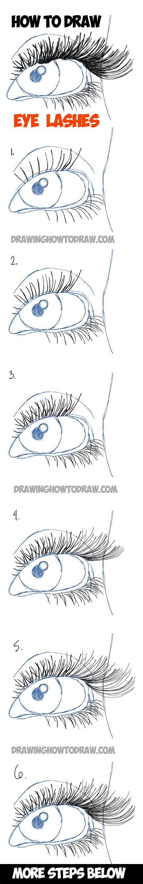 how to draw eye lashes with step by step illustrated