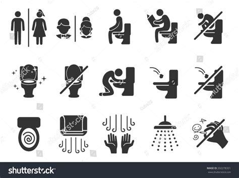 Sticker Toilet Closet Stiker Toilet Water Flush Jm901 toilet sign symbol icon pictogram stock vector
