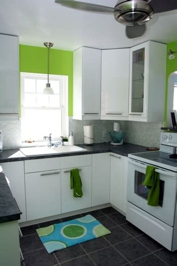 kitchen gallery white bright and clean lime green